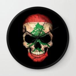 Dark Skull with Flag of Lebanon Wall Clock