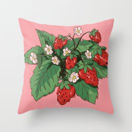 Strawberry Frog Throw Pillow