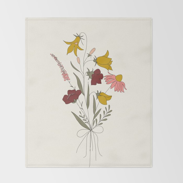Wildflowers Bouquet Throw Blanket