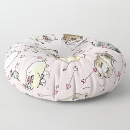 Love is in the Air - Cute Pug Cupids Floor Pillow