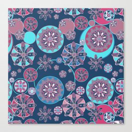 Circles of Flower Blue and Pink Canvas Print