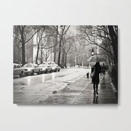 New York City - Rain Metal Print
