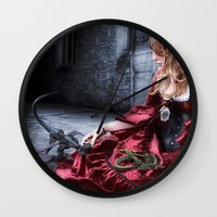 mother of dragons Wall Clocks featuring mother of dragons by YattaGiulia
