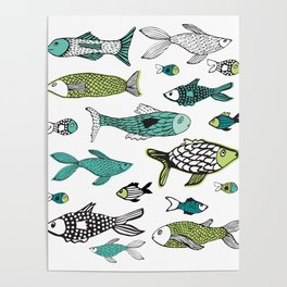 Sea life green & blue ocean fishes Poster