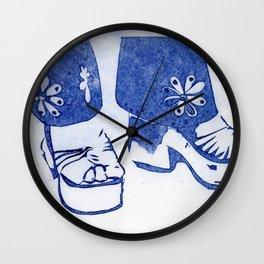 Blue Retro Sandals Wall Clock