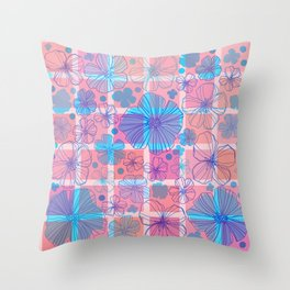 Drawing flowers in cubes Throw Pillow