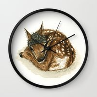 fawn Wall Clocks featuring Fawn by Sam Luotonen