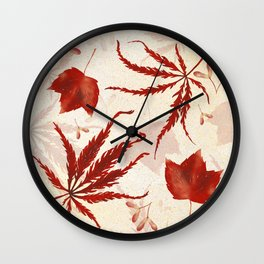 Red Japanese Maple Leaf Wall Clock