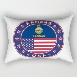 Kansas, Kansas t-shirt, Kansas sticker, circle, Kansas flag, white bg Rectangular Pillow