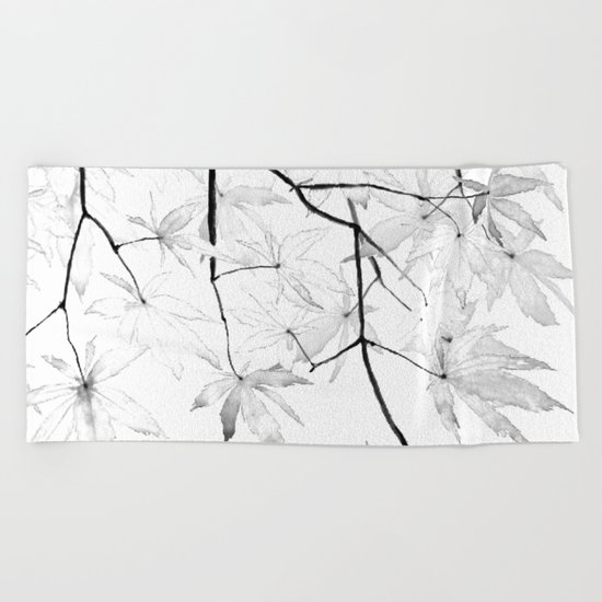 black and white maple leaves  Beach Towel