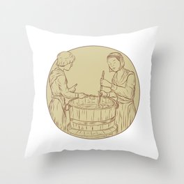 Alewife Brewing Beer Drawing Throw Pillow
