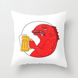 Coral Trout Beer Mug Circle Drawing Throw Pillow