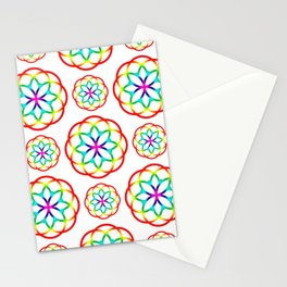 Retro Colorful Circles Rainbow Pattern Stationery Cards