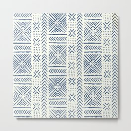 Line Mud Cloth // Ivory & Navy Metal Print
