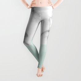 Real White Marble Half Mint Green Shapes Leggings