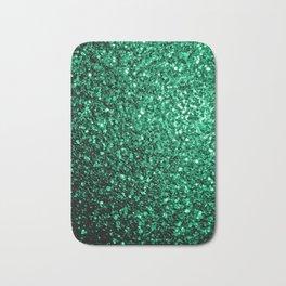 Beautiful Emerald Green glitter sparkles Bath Mat