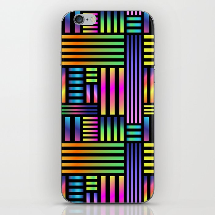 90's Neon Ombre Stripes iPhone Skin