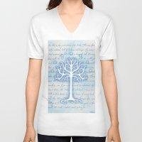 gondor V-neck T-shirts featuring Tree of Gondor by JadeJonesArt