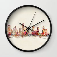 texas Wall Clocks featuring houston texas by bri.buckley