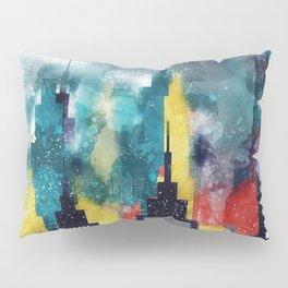 New York City Skyscrapers In Watercolor Art, Travel Digital Download, New York Poster, Wall Art Home Pillow Sham