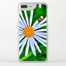 Blue daisy and a ladybird Clear iPhone Case