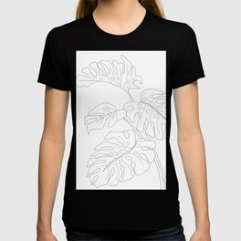 Line Art Monstera Leaves T-shirt