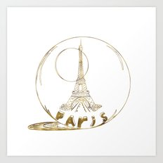 Golden Paris . Eiffel tower Art Print