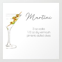 Cocktail Recipes. Martini Square Art Print