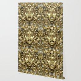 """Ancient Golden and Silver Medusa Myth"" Wallpaper"