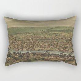 Vintage Pictorial Map of New Brighton PA (1883) Rectangular Pillow