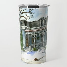 A Cozy Winter Cottage Travel Mug