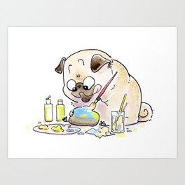 Rock Painter Pug Art Print