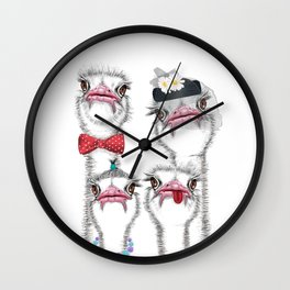 Ostrich family 2 Wall Clock