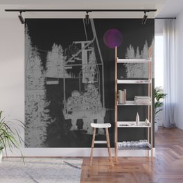 Inverted Ski Lift to the Moon Wall Mural