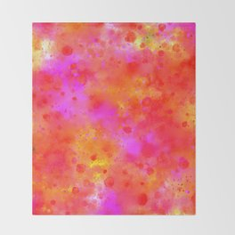 Watercolor Painting Bright Red & Summer Pink Abstract Paint Splashes Throw Blanket