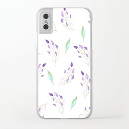 Mint and Leaves Clear iPhone Case