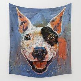 Happy Pitbull Wall Tapestry