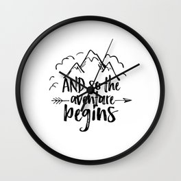 INSPIRATIONAL Quote,And So The Adventure Begins,Adventure Awaits,Kids Room Decor,Nursery Art Wall Clock