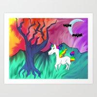 Dead World Unicorn Art Print