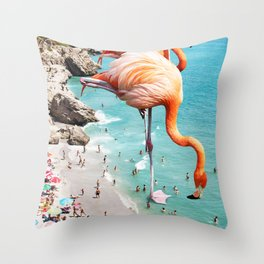 Flamingos on the Beach #society6 #decor #buyart Throw Pillow
