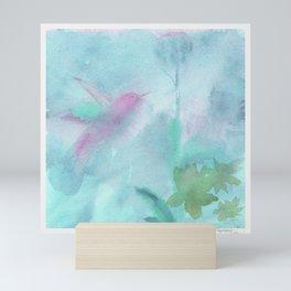 Hummingbird Selah - Aqua Mini Art Print