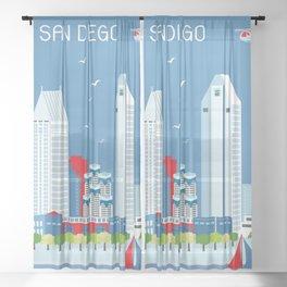 San Diego, California - Skyline Illustration by Loose Petals Sheer Curtain