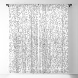Call Me By Your Name Elios Shirt Faces in Faded Outlines on White CMBYN Sheer Curtain