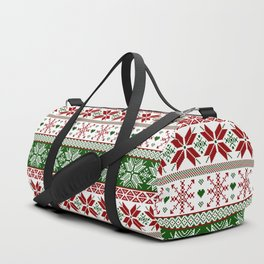Green & Red Winter Fair Isle Duffle Bag