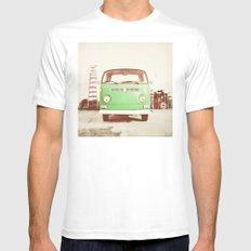Vintage Volkswagen Bus (Green Edition) MEDIUM Mens Fitted Tee White
