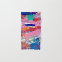 Lucky #13, a contemporary abstract in pinks and fuchsias Hand & Bath Towel