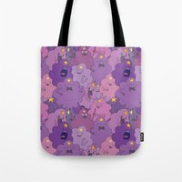 lumpy space princess Tote Bags featuring Lumpy Space Princess by Beesants