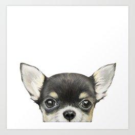 Chihuahua mix color Dog illustration original painting print Art Print