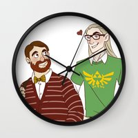 legolas Wall Clocks featuring Hipster Legolas and Gimli by Nautilus Gifticus