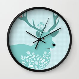 Blue Deer Wall Clock